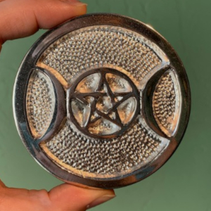 Silver Plate Triple Moon Pentacle 3inch